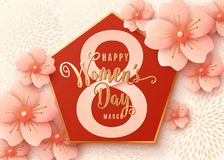 8 march celebration background design with light pink flowers. Happy womens day. Stylish light gold greeting card with cherry blossoms paper art. Spring vector stock illustration