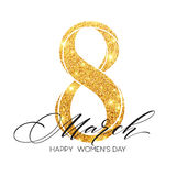 8 March celebration with eight symbol made of gold sparkling glitters. Womens Day concept design. Vector illustration. 8 March celebration with eight symbol made Royalty Free Stock Image
