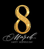 8 March celebration with eight symbol made of gold sparkling glitters. Womens Day concept design. Vector illustration Stock Photos