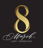 8 March celebration with eight symbol made of gold sparkling glitters. Womens Day concept design. Vector illustration. 8 March celebration with eight symbol made Royalty Free Stock Photos