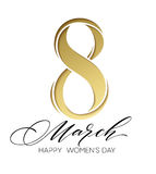 8 March celebration with eight symbol made of gold sparkling glitters. Womens Day concept design. Vector illustration. 8 March celebration with eight symbol made Stock Images