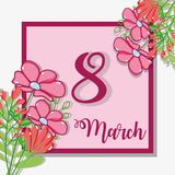 March 8 celebration and flowers decoration. Vector illustration Royalty Free Stock Images