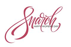 8 March celebration lettering cartd. Womans Day concept design. Vector illustration. EPS10 Royalty Free Stock Photos