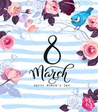 8 march celebration poster template with festive wish, gorgeous semi colored rose flowers, cute bird on blue background stock illustration