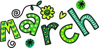 March Clip Art. Whimsical cartoon text doodle for the month of March