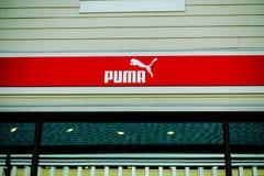 Close-up Puma store logo in Richmond, BC stock photos