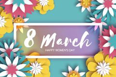8 March. Colorful Happy Women s Day. Mother s Day. Paper cut Floral Greeting card. Origami flower. Text. Rectangle frame stock illustration