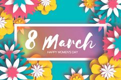 8 March. Colorful Happy Women`s Day. Mother`s Day. Paper. Cut Floral Greeting card. Origami flower. Text. Rectangle frame. Spring blossom. Seasonal holiday on stock illustration