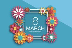 8 March. Colorful Happy Women s Day. Trendy Mother s Day. Paper cut Floral Greeting card. Origami flower. Text. Square. Ribbon frame. Spring blossom. Seasonal vector illustration