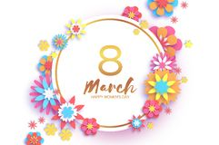 8 March. Colorful Happy Women s Day. Trendy Mother s Day. Paper cut Gold metal Floral Greeting card. Origami flower. Text. Circle frame. Spring blossom stock illustration