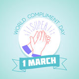 1 march Compliment Day. Calendar for each day on march 1. Greeting card. Holiday - Compliment Day. Icon in the linear style Stock Photo