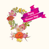 8 march congratulation card. Happy Women`s Day!. Floral female sign Stock Image