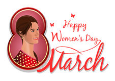 March 8, congratulations to the International Womens Day, pretty, cute, lovely beautiful girl. Isolated on white background. Cute girl on the background of vector illustration