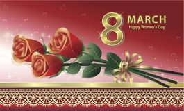 8 march. Congratulatory card with bouquet red roses and hearts Royalty Free Stock Photography