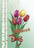 March 8. 8 march congratulatory card with bouquet tulip Stock Image