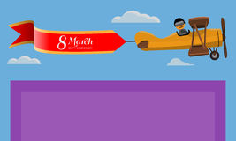 8 March. Creative Greeting card. Happy Women`s Day. Vintage plane flying on top of card. Vector illustration. 8 March. Creative Greeting card. Happy Women`s Day Stock Photos