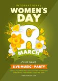 Womens Day party flyer. 8 March. Creative poster, banner or flyer design with beautiful spring flowers for Women`s Day Party celebration. Vector illustration stock illustration
