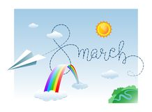 8 March. Cute greeting card with Hand lettering script, Paper airplane, Clouds and Rainbow. Vector illustration Stock Photos