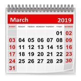 March 2019. This is a 3d rendered computer generated image. Isolated on white stock illustration