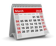March 2018 - Calendar. March 2018 , This is a 3d rendered computer generated image. Isolated on white Stock Photos