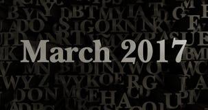 March 2017 - 3D rendered metallic typeset headline illustration Royalty Free Stock Photography