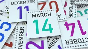 March 14 date on emphasized calendar page, 3D rendering. Calendar page with a specific date, 3D stock illustration