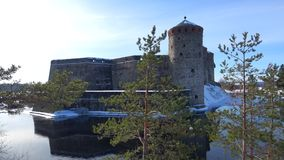 March day at the ancient fortress Olavinlinna. Savonlinna, Finland. March day at the ancient fortress Olavinlinna. Savonlinna. Finland stock footage