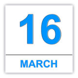 March 16. Day on the calendar. Royalty Free Stock Photos