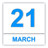March 21. Day on the calendar. 3D illustration Stock Image