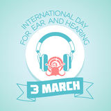 3 March Day for Ear and Hearing. Calendar for each day on March Stock Images