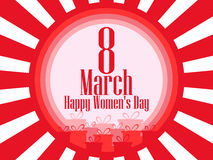 8 March day. International Women`s day. Background with rays and gift box. Vector. Illustration stock illustration