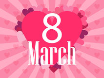 8 March day. International Women`s day. Background with rays and heart. Vector. Illustration Royalty Free Stock Photo