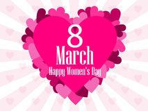 8 March day. International Women`s day. Background with rays and heart. Vector Stock Photo