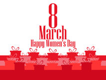 8 March day. International Women`s day. Banner with gift boxes. Vector Royalty Free Stock Photos
