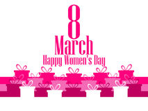 8 March day. International Women`s day. Banner with gift boxes. Vector Stock Image