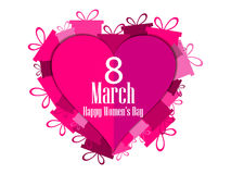 8 March day. International Women`s day. Hearts with gift boxes. Vector illustration Royalty Free Stock Photos