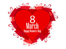 8 March day. International Women`s day. Hearts with gift boxes. Vector Stock Photos