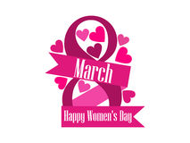 8 March day. International Women`s day label with ribbon and hearts. Vector Stock Photography