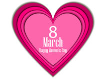 8 March day. International Women`s day. Paper heart. Vector illustration. 8 March day. International Women`s day. Paper heart. Vector stock illustration