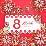 The 8 March Day. The 8 March day greeting card with flowers vector illustration