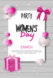8 March Day Party Invitation Womens Day Celebration Flyer Design With Heart Shapes And Copy Space. Vector Illustration Stock Images