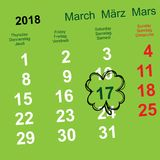 March 17 day of St. Patrick. Leaf clover calendar reminder. Vector illustration Royalty Free Stock Photos