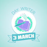 3 March  Day writer blue. Calendar for each day on March 3. Holiday - Day writer. In the style of a modern retro Royalty Free Stock Images