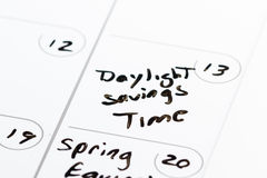March 13, Daylight savings time. March 13th on a calendar marked with daylight savings time with aback marker stock photos