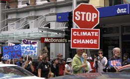 March de protestation de campagne de changement climatique Photo libre de droits
