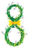 March decoration number. Green flower vector illustration