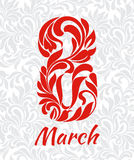 8 March. Decorative Font made of swirls and floral elements. Bac Royalty Free Stock Image