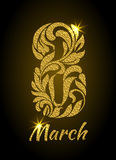 8 March. Decorative Font made of swirls and floral elements with Stock Photo