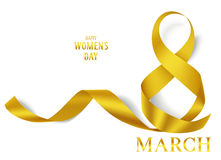 8 march decorative golden ribbon. International Women`s Day card. Vector yellow ribbon isolated on white Stock Photography