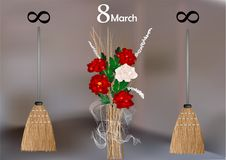 8 of March demotivator. With flowers, infinity and broom vector illustration